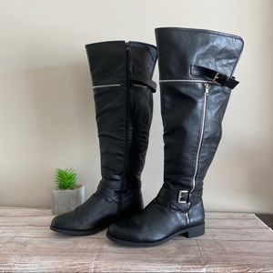 TORRID Black Faux Leather Over Knee High Boots